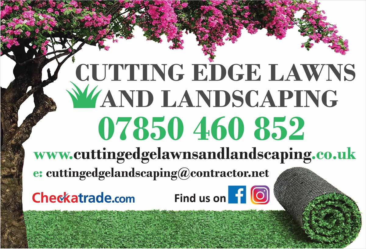 photo of cutting edge lawns and landscaping advertising board